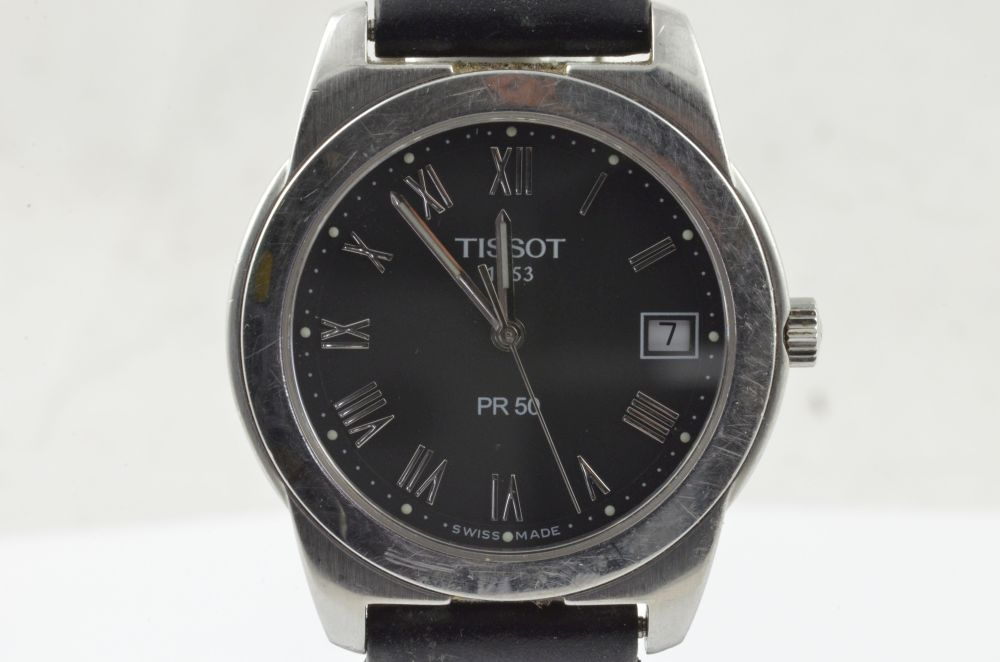 tissot pr 50 herren uhr quartz 34mm j376 476k mit leder band vintage ebay. Black Bedroom Furniture Sets. Home Design Ideas